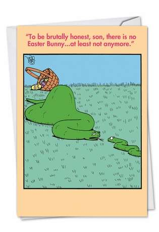 Hysterical Easter Paper Greeting Card by Leigh Rubin from NobleWorksCards.com - Brutally Honest Snake