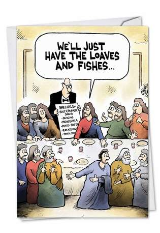 Hilarious Easter Printed Greeting Card by Tony Lopes from NobleWorksCards.com - Loaves and Fishes