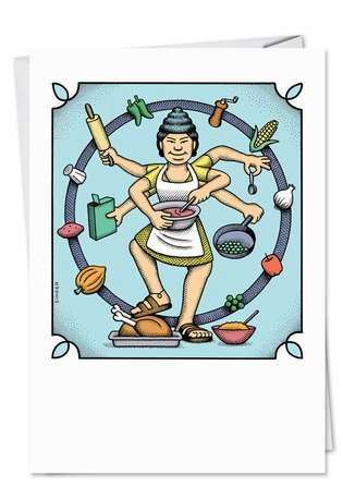 Funny Mother's Day Paper Card by Andy Singer from NobleWorksCards.com - Goddess