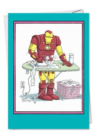Funny Mother's Day Paper Card by Glenn McCoy from NobleWorksCards.com - Iron Man