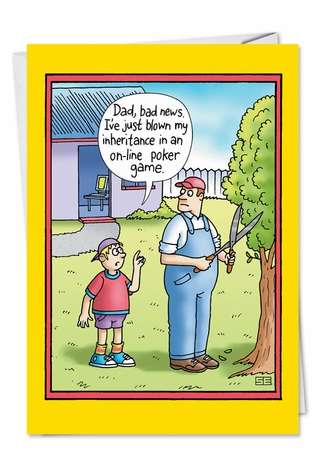 Humorous Father's Day Paper Greeting Card by Stan Eales from NobleWorksCards.com - Online Poker Game