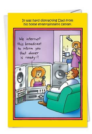 Funny Father's Day Printed Card by Stan Eales from NobleWorksCards.com - We Interrupt