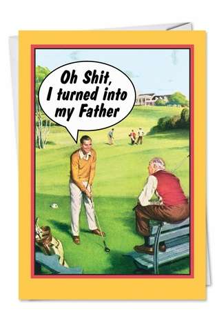 Hysterical Father's Day Printed Card by Ephemera from NobleWorksCards.com - Golf Dad