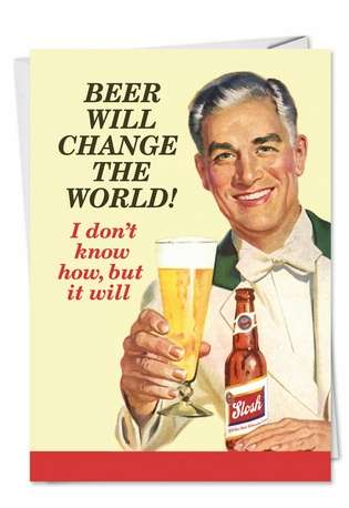 Hysterical Father's Day Paper Card by Ephemera from NobleWorksCards.com - Beer Change