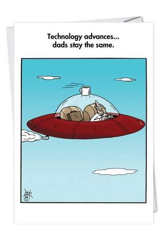 Funny Father's Day Paper Greeting Card by Leigh Rubin from NobleWorksCards.com - Cup On Saucer