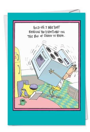 Hysterical Father's Day Paper Greeting Card by Glenn McCoy from NobleWorksCards.com - Shake and Bake