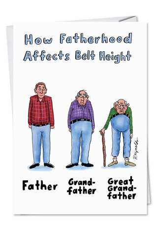 Humorous Father's Day Printed Greeting Card by Daniel Reynolds from NobleWorksCards.com - Belt Height