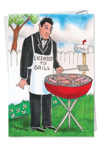 Hysterical Father's Day Printed Greeting Card by Daniel Reynolds from NobleWorksCards.com - Licensed to Grill