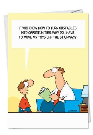 Humorous Blank Printed Greeting Card by Randy Glasbergen from NobleWorksCards.com - Move My Toys