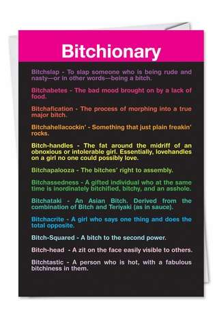 Funny Birthday Printed Greeting Card from NobleWorksCards.com - Bitchionary