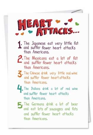Hilarious Birthday Paper Card from NobleWorksCards.com - Heart Attack