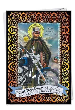 Funny Birthday Greeting Card from NobleWorksCards.com - St. Davidson of Harley