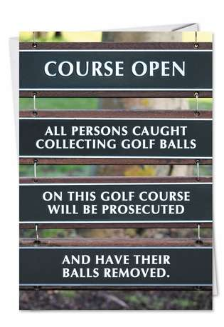 Humorous Birthday Printed Greeting Card from NobleWorksCards.com - Golf Balls Removed