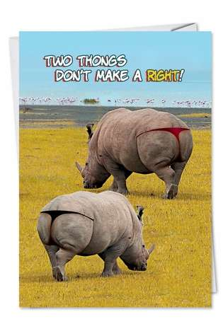 Funny Birthday Paper Greeting Card from NobleWorksCards.com - Two Thongs