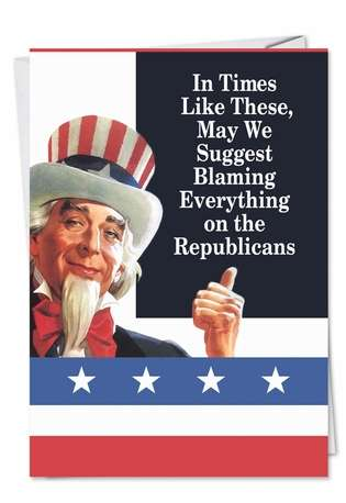 Funny Birthday Greeting Card by Ephemera from NobleWorksCards.com - Blame Republicans