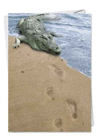 Funny Miss You Greeting Card from NobleWorksCards.com - Croc