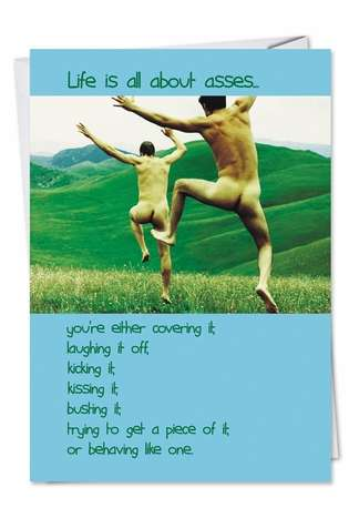 Hilarious Blank Greeting Card from NobleWorksCards.com - All About Asses