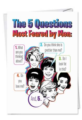 Hysterical Birthday Printed Greeting Card from NobleWorksCards.com - Five Questions
