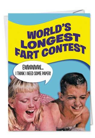 Hysterical Birthday Printed Card from NobleWorksCards.com - Longest Fart