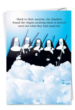 Hilarious Birthday Paper Greeting Card from NobleWorksCards.com - Virgins In Heaven
