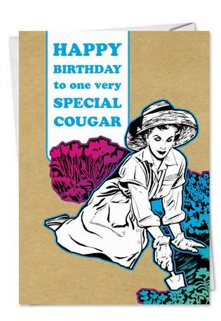 Humorous Birthday Greeting Card from NobleWorksCards.com - Cougar