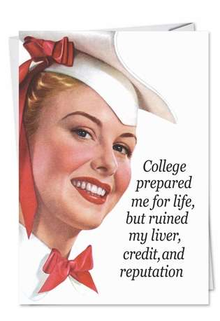 Humorous Congratulations Paper Greeting Card by Ephemera from NobleWorksCards.com - College