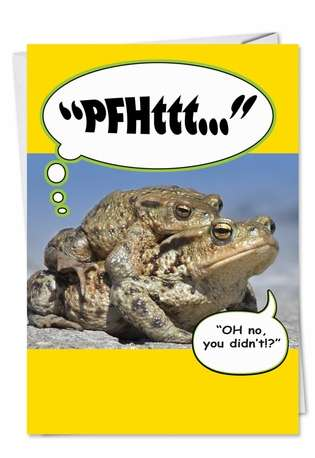 Humorous Birthday Printed Card from NobleWorksCards.com - Frog Fart