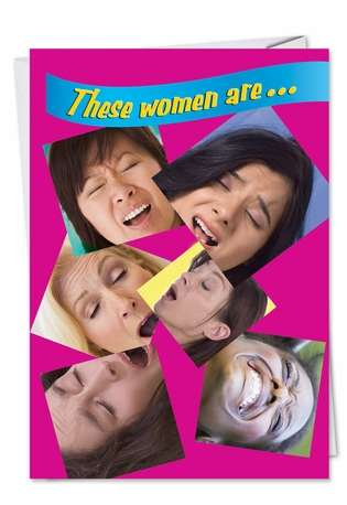 Funny Get Well Printed Greeting Card from NobleWorksCards.com - Women Sneezing