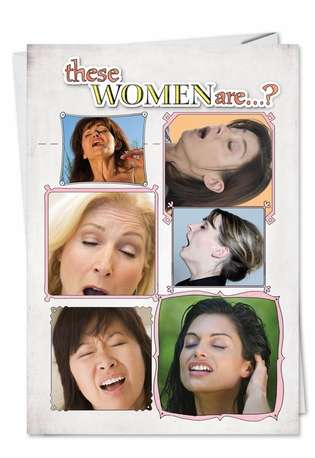 Hilarious Birthday Paper Card from NobleWorksCards.com - Women Sneezing