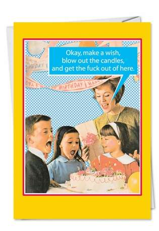Hilarious Birthday Printed Greeting Card by Tom Cheney from NobleWorksCards.com - Blow Out