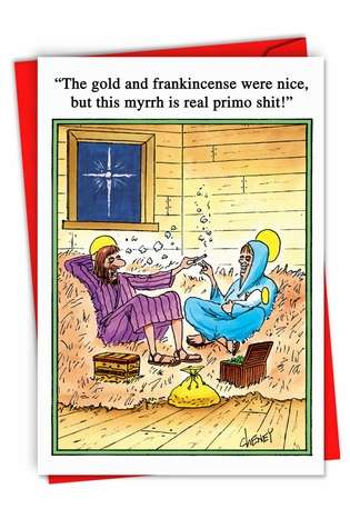 Gold and Frankincense: Humorous Christmas Printed Card