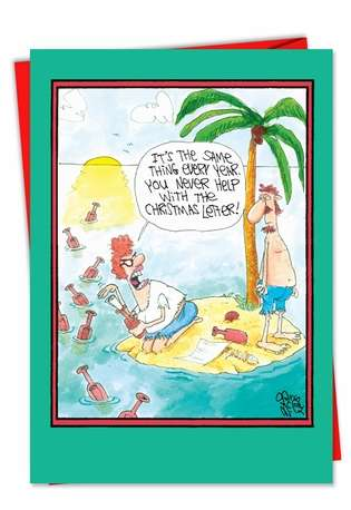 Hilarious Christmas Paper Card by Gary McCoy from NobleWorksCards.com - Christmas Letter