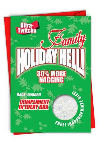 Funny Christmas Printed Card from NobleWorksCards.com - Family Holiday Hell!