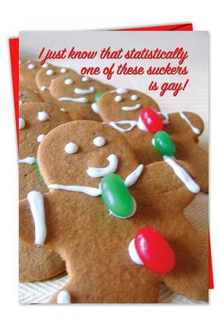 Funny Christmas Printed Card from NobleWorksCards.com - One is Gay