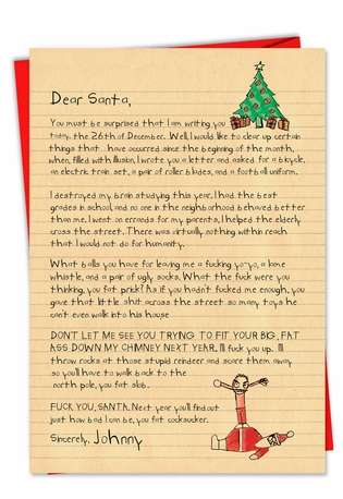 Funny Christmas Greeting Card from NobleWorksCards.com - Dear Santa