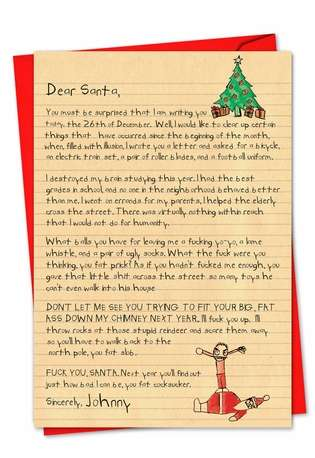 Hysterical Blank Paper Card from NobleWorksCards.com - Dear Santa