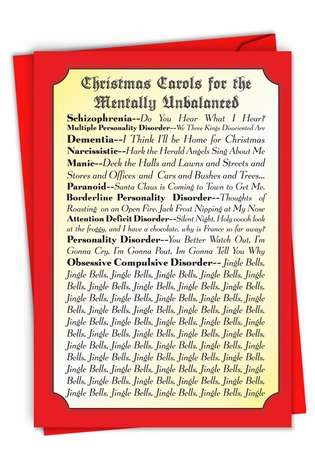 Humorous Christmas Paper Greeting Card from NobleWorksCards.com - Christmas Carols For Everyone