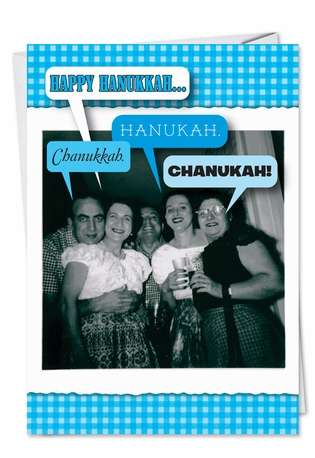 Hysterical Hanukkah Printed Greeting Card from NobleWorksCards.com - 4 Out of 5 Jews