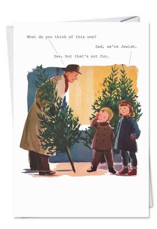 Hilarious Christmas Paper Card by SuperIndusatrialLove from NobleWorksCards.com - Dad Were Jewish