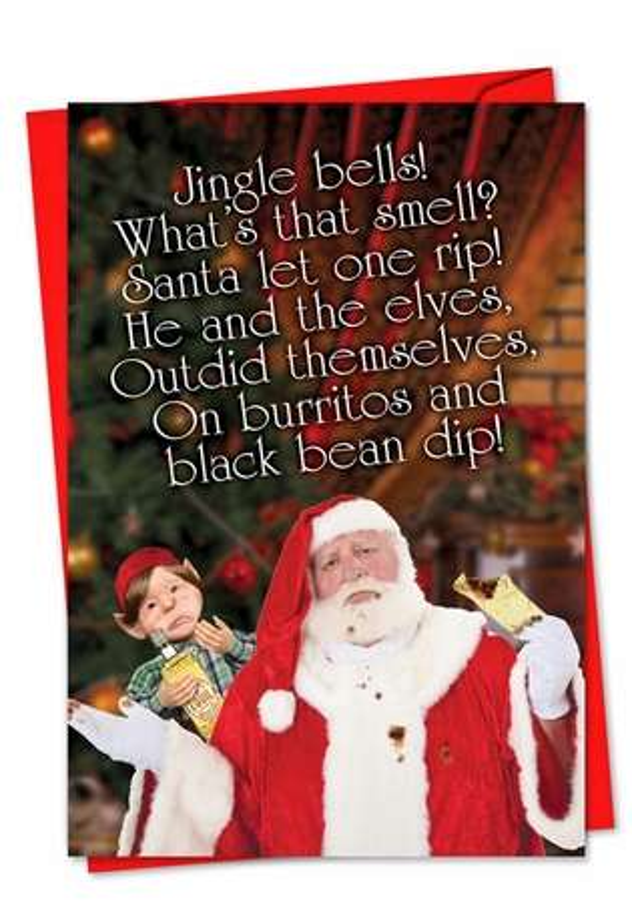 Humorous Christmas Printed Greeting Card by Samara Siskind from NobleWorksCards.com - Jingle Smells