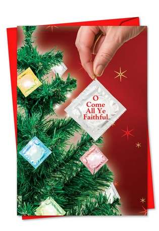 Hilarious Christmas Printed Card from NobleWorksCards.com - Condom Tree