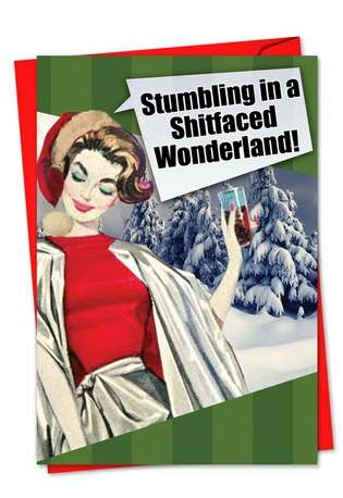Hilarious Christmas Paper Card from NobleWorksCards.com - Shitfaced Wonderland
