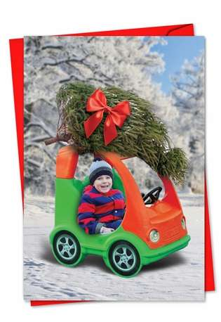 Toy Car Tree: Funny Christmas Printed Card
