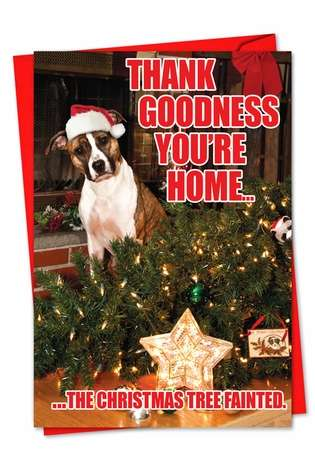 Humorous Blank Paper Greeting Card from NobleWorksCards.com - Christmas Tree Fainted