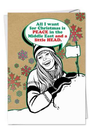 Hilarious Christmas Paper Card from NobleWorksCards.com - A Little Head