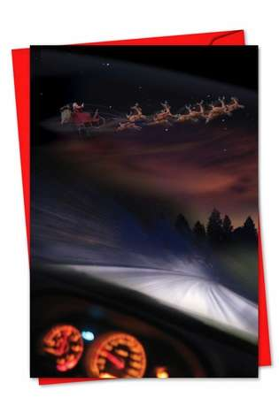 Funny Christmas Paper Greeting Card from NobleWorksCards.com - Santa Dashcam