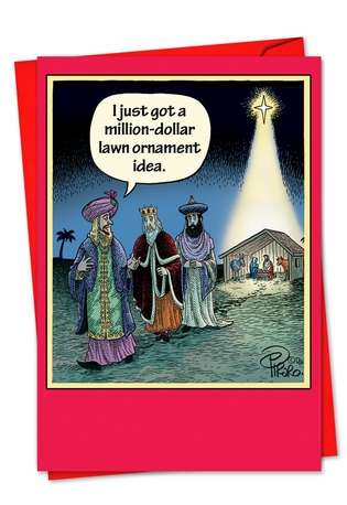 Humorous Christmas Printed Greeting Card by Dan Piraro from NobleWorksCards.com - Lawn Ornament