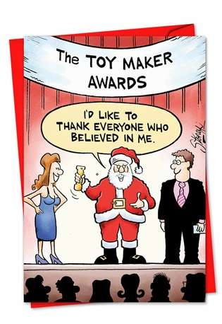 Funny Christmas Greeting Card by Tony Lopes from NobleWorksCards.com - Toy Maker Awards