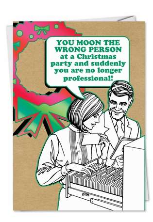 Funny Christmas Paper Card from NobleWorksCards.com - Moon Wrong Person