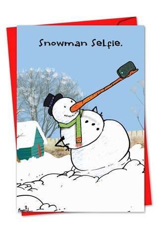 Hysterical Christmas Paper Greeting Card by Gustavo Rodriguez from NobleWorksCards.com - Snowman Selfie